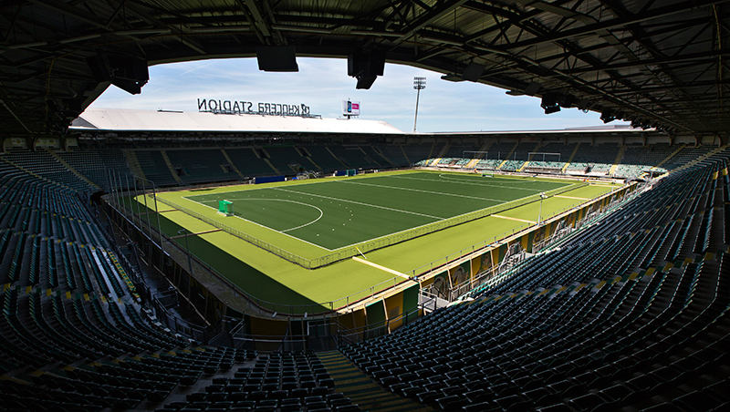 Soccer Stadium Converted For 2014 Field Hockey World Cup